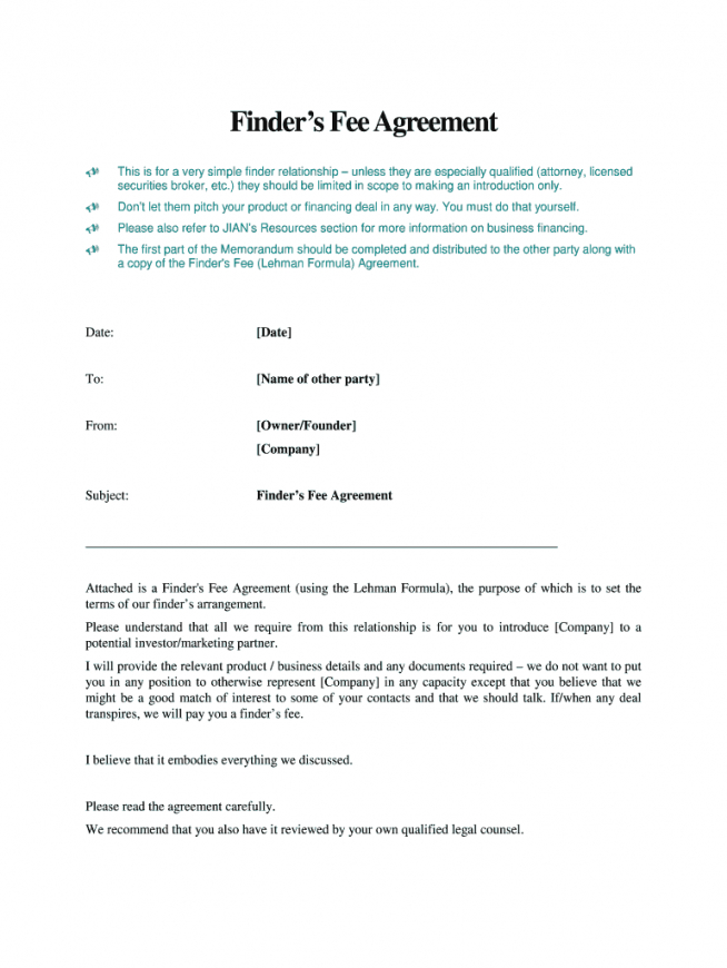 free finders fee agreement template  fill out and sign printable pdf template   signnow finders agreement template sample