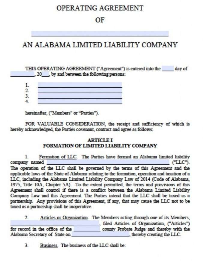 free free alabama llc operating agreement template  pdf  word limited liability company agreement template excel