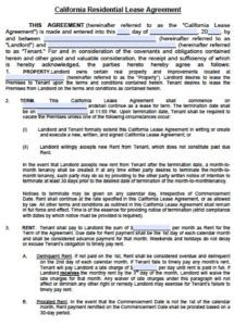 free free california standard residential lease agreement california standard lease agreement template doc