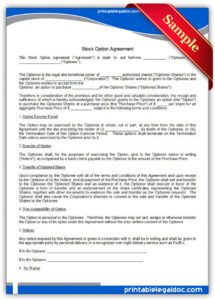 free free printable stock option agreement form generic employee stock option agreement template doc