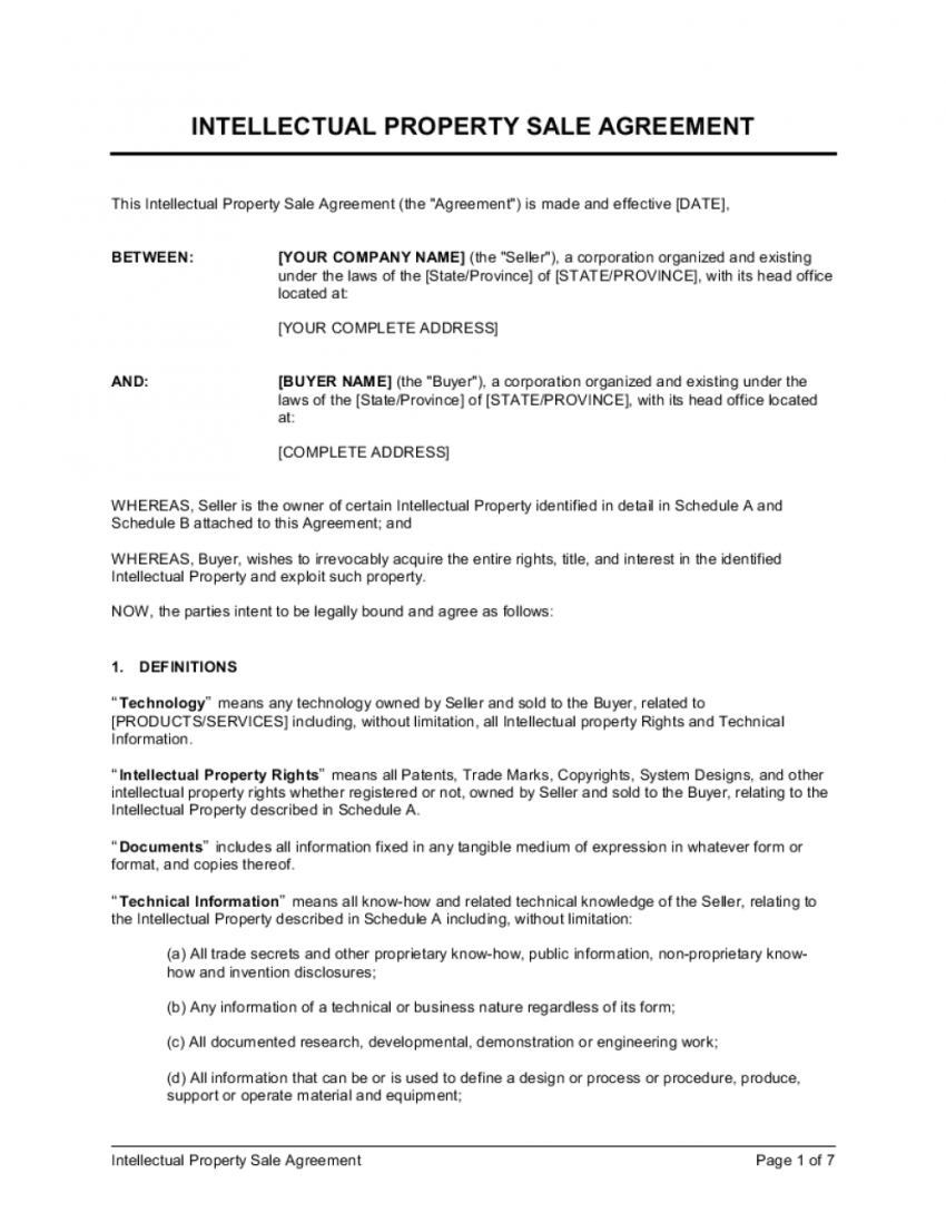 free ip sale agreement template  by businessinabox™ intellectual property protection agreement template
