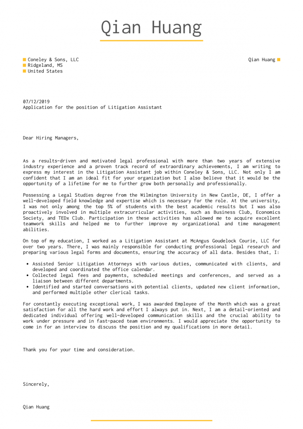 free litigation assistant cover letter example  kickresume legal assistant cover letter template sample
