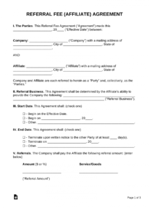 free referral affiliate fee agreement  pdf  word finders agreement template