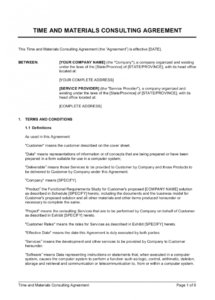 free time and materials consulting agreement template  by marketing consulting agreement template doc