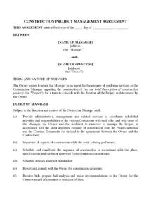 free usa construction project management agreement project manager agreement template pdf