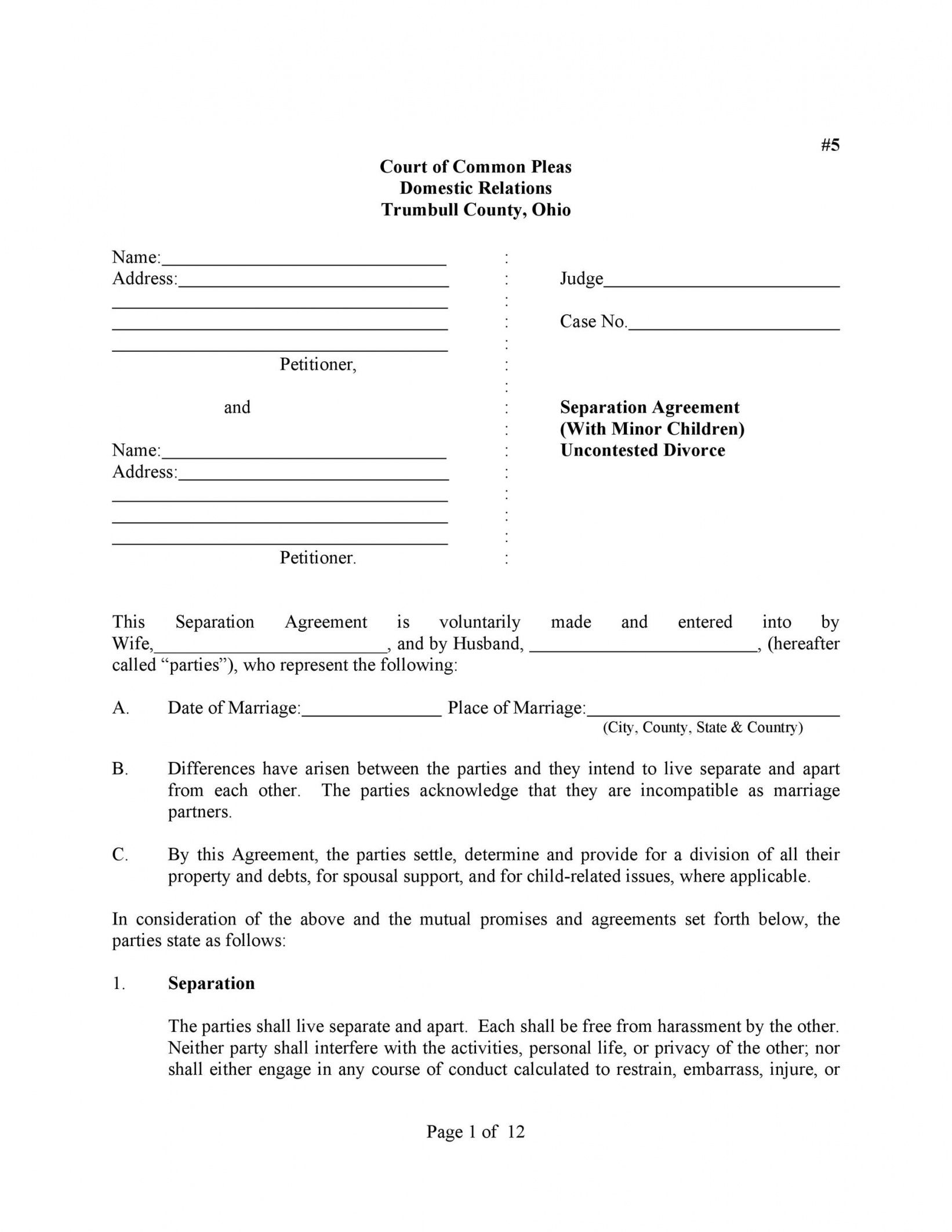 printable 43 official separation agreement templates  letters  forms division of assets agreement template doc