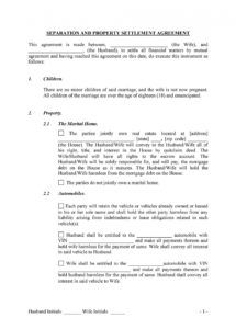 printable 43 official separation agreement templates  letters  forms division of assets agreement template pdf