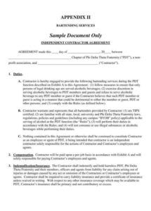 printable 5 bartending services contract templates  pdf  free bar manager contract template