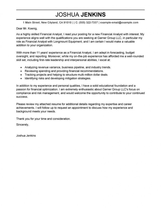 printable best analyst cover letter examples  livecareer financial analyst cover letter template pdf