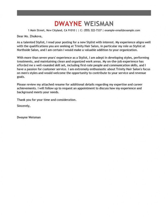 printable best stylist cover letter examples  livecareer hair stylist cover letter template sample