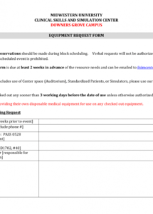 printable equipment request form and usage agreement equipment user agreement template example