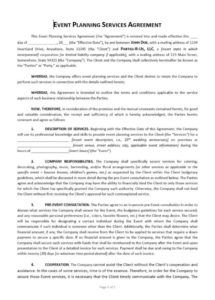 printable event planning contract template  approveme  free contract party planning contract template example