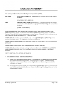 printable exchange of shares agreement long form template  by s corp buy sell agreement template example