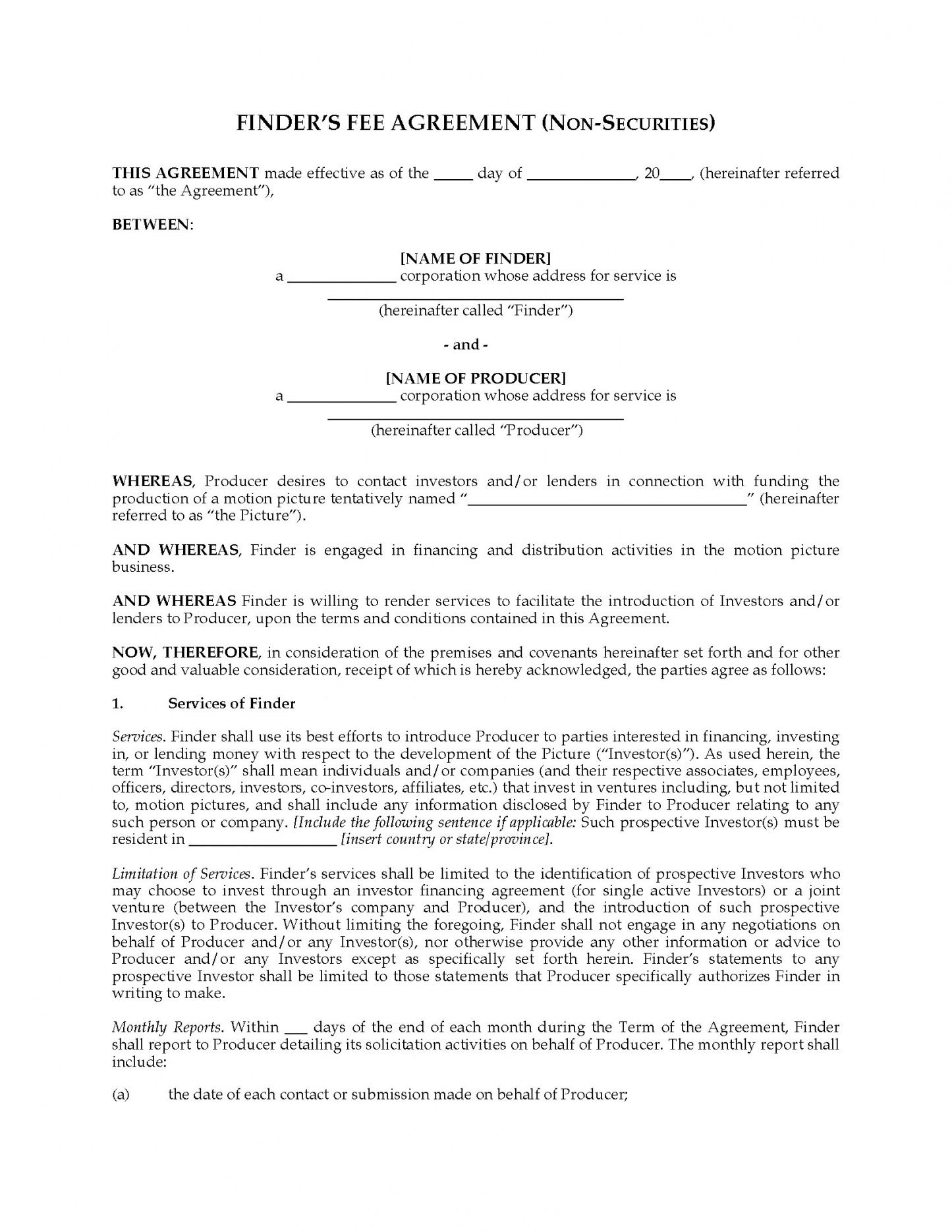 printable finder's fee agreement to obtain film financing finders agreement template sample
