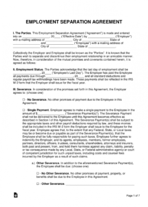 printable free employment separation severance agreement  pdf florida separation agreement template
