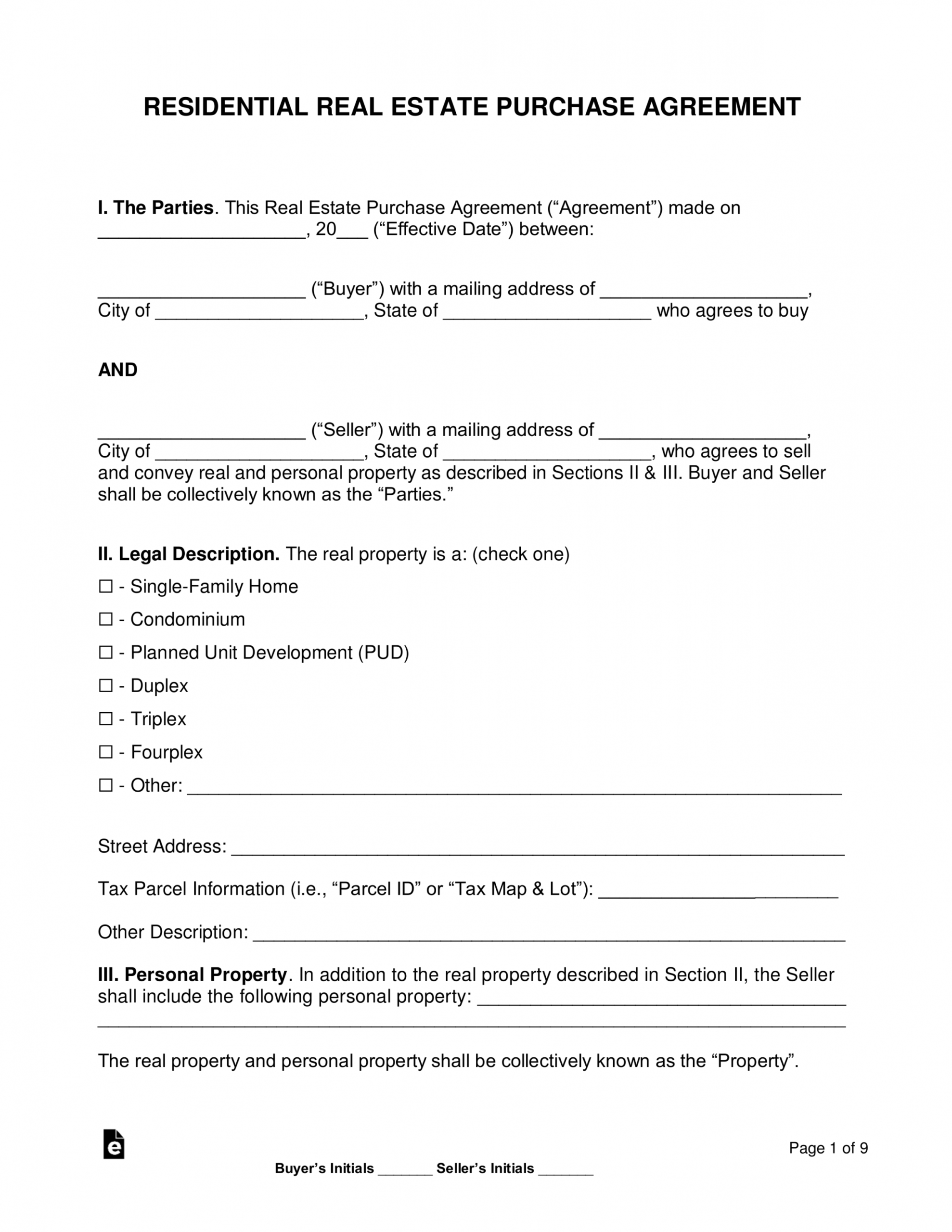printable free residential real estate purchase agreements  word contract to buy a house template