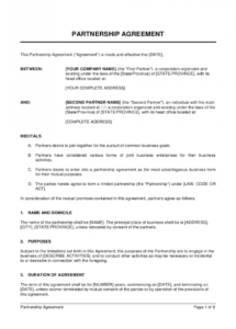 printable partnership agreement template  by businessinabox™ partner buyout agreement template doc