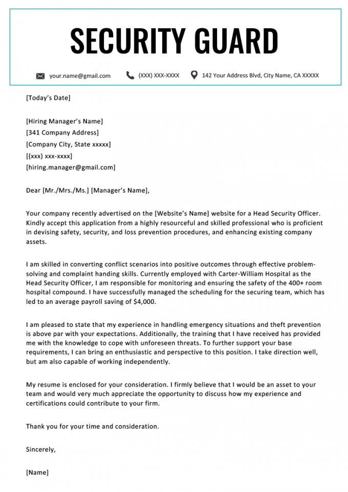 printable security guard cover letter  resume genius cover letter template for security job