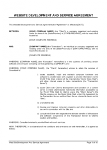 printable web site development and service agreement template  by software development consulting services agreement template doc