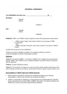 sample 50 best referral agreement templates 100% free  templatelab broker fee agreement template