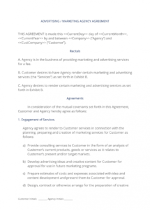 sample advertising and marketing agency contract  3 easy steps marketing agency agreement template pdf