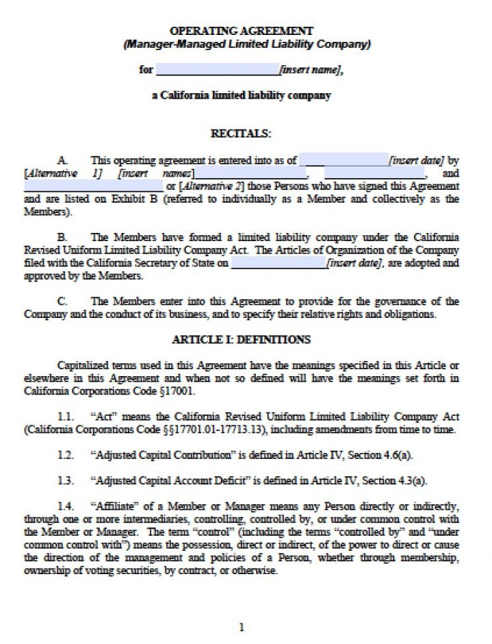 sample california multi member llc operating agreement  free llc limited liability company agreement template sample