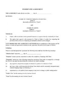 sample canada finder's fee agreement for identifying potential financings finders agreement template doc