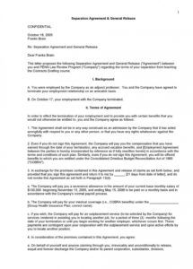 sample employment separation agreement template ~ addictionary voluntary employment separation agreement template example