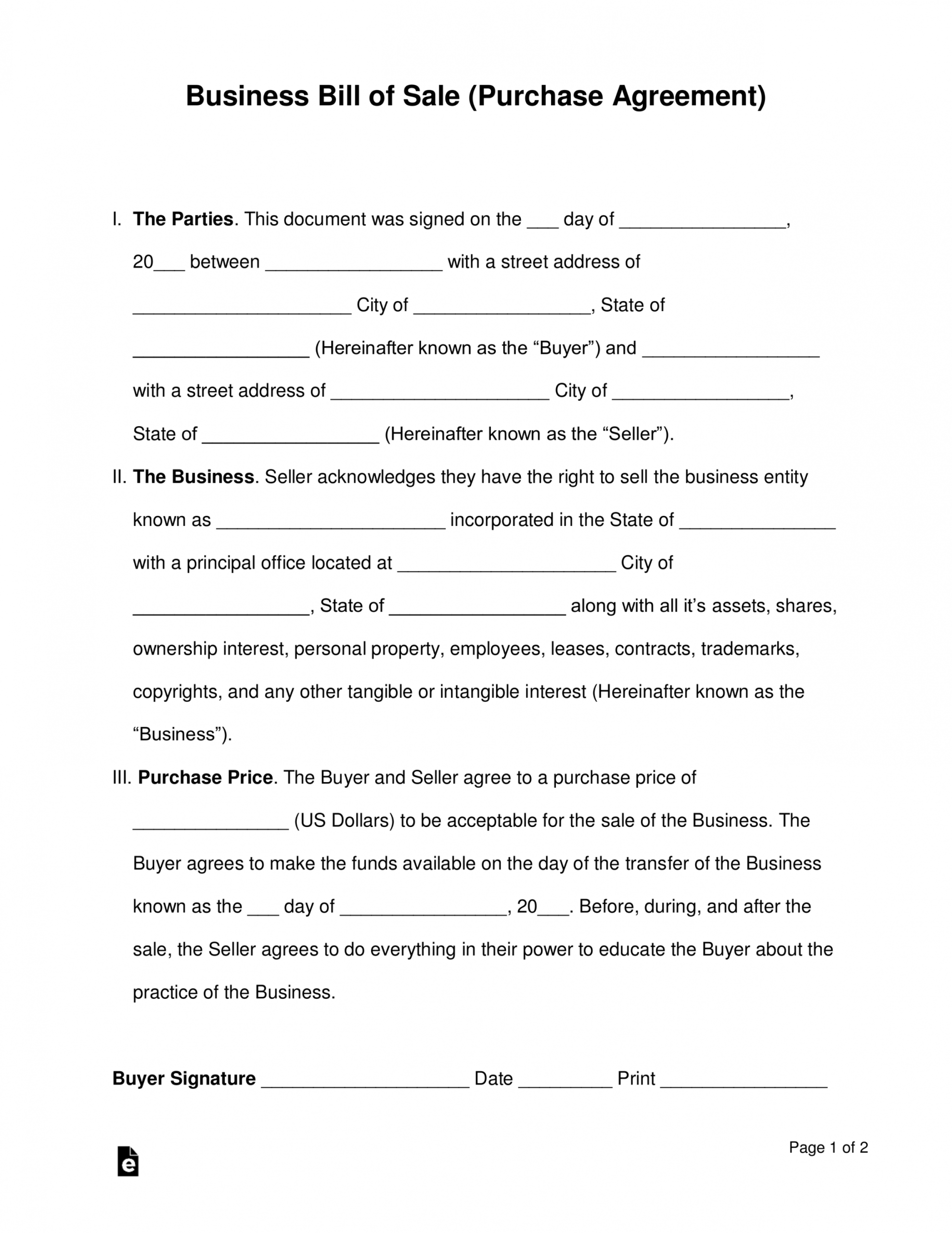 sample free business bill of sale form purchase agreement  word business ownership agreement template excel