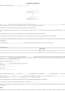 sample free illinois marital separation agreement  legal florida separation agreement template