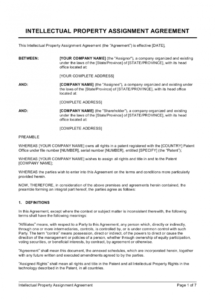 sample intellectual property assignment template  by businessina intellectual property protection agreement template word