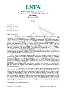 sample multilateral netting agreement  lsta netting agreement template sample