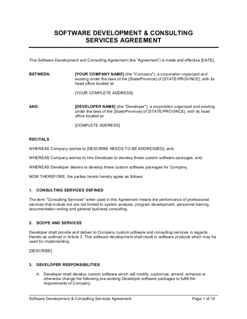 software development and consulting services agreement software development consulting services agreement template excel