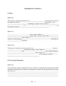 10 bathroom renovation contract template examples  pdf kitchen renovation contract template sample
