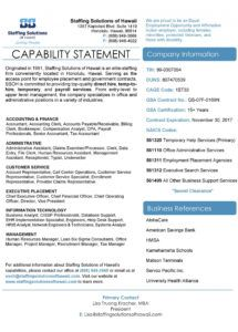 39 effective capability statement templates  examples capability statement template sample