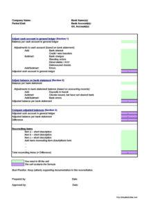 50 bank reconciliation examples & templates 100% free bank statement reconciliation template doc