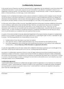 editable 24 simple confidentiality statement & agreement templates confidential statement template example