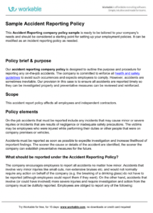 editable accidentreportingpolicy accident reporting policy template doc