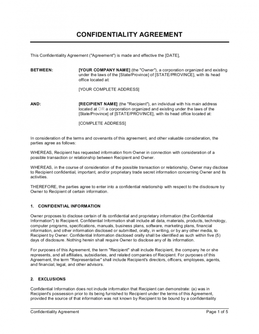 editable confidentiality agreement template  by businessinabox™ non disclosure statement template