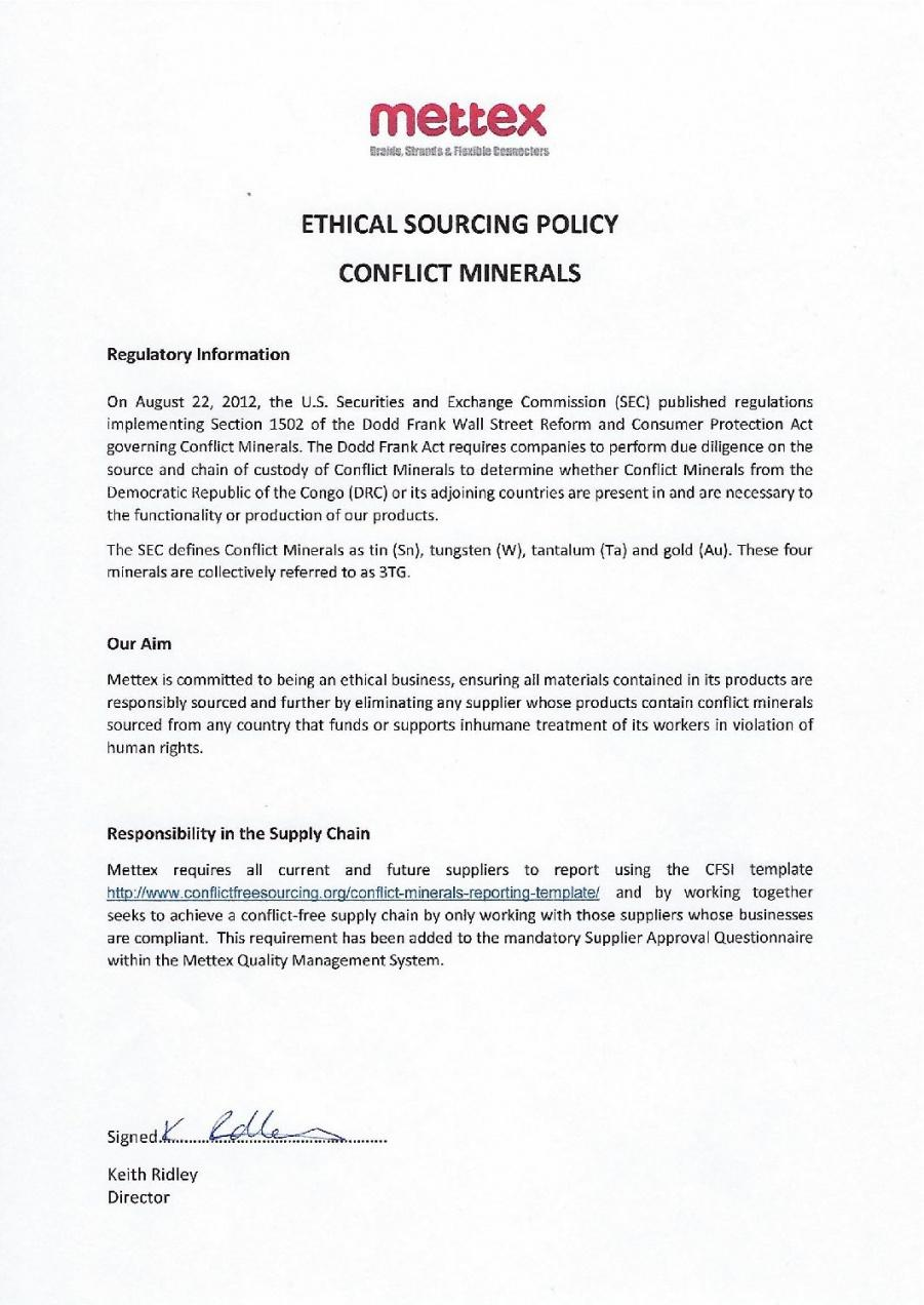 editable conflictmineralspolicy2018pdf  mettex conflict minerals policy statement template excel
