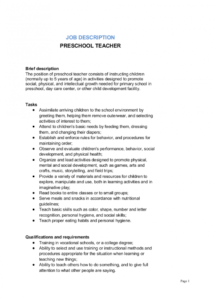 editable preschool teacher job description template  by businessin preschool teacher contract template