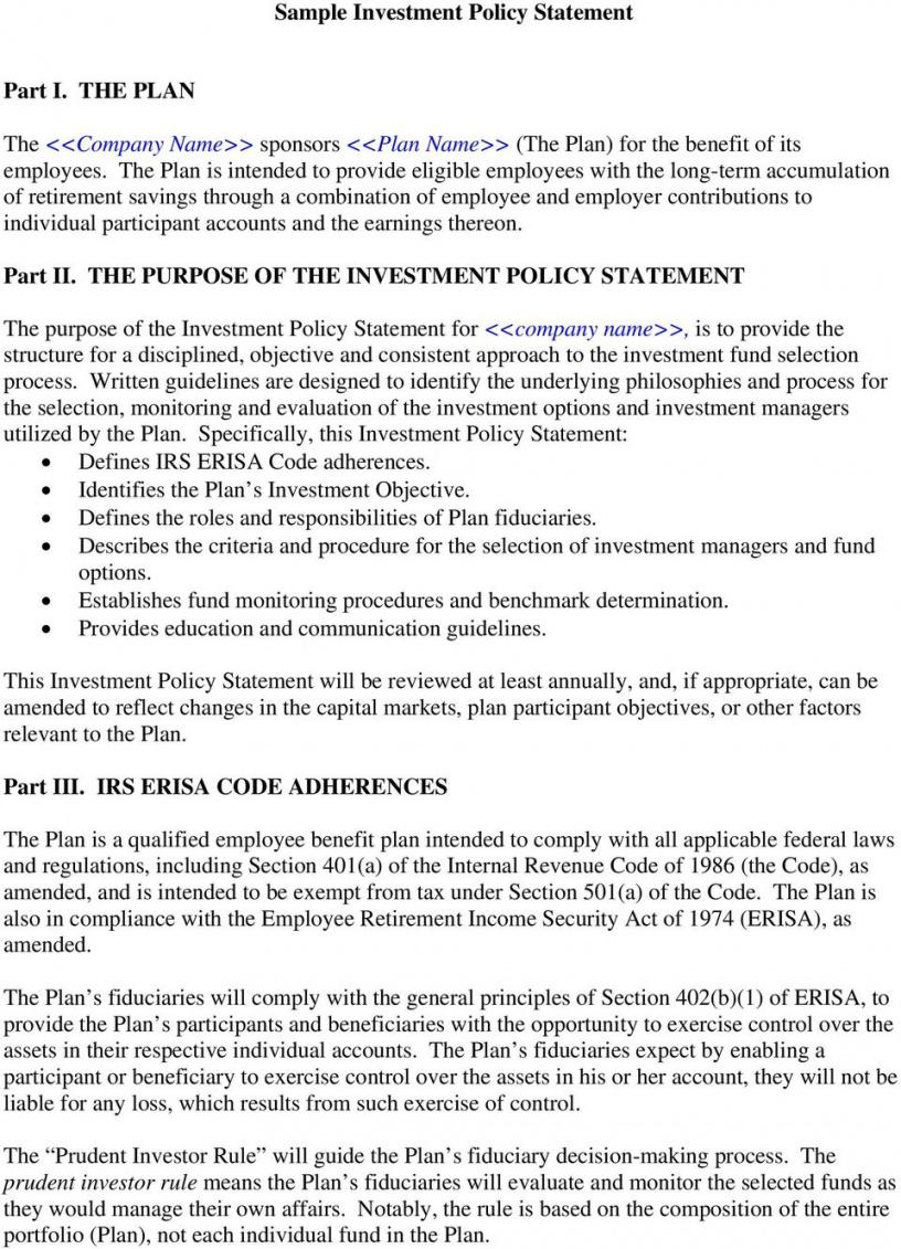 editable sample investment policy statement  pdf free download investment policy statement template word