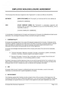 employee nondisclosure agreement template  by businessin non disclosure statement template doc
