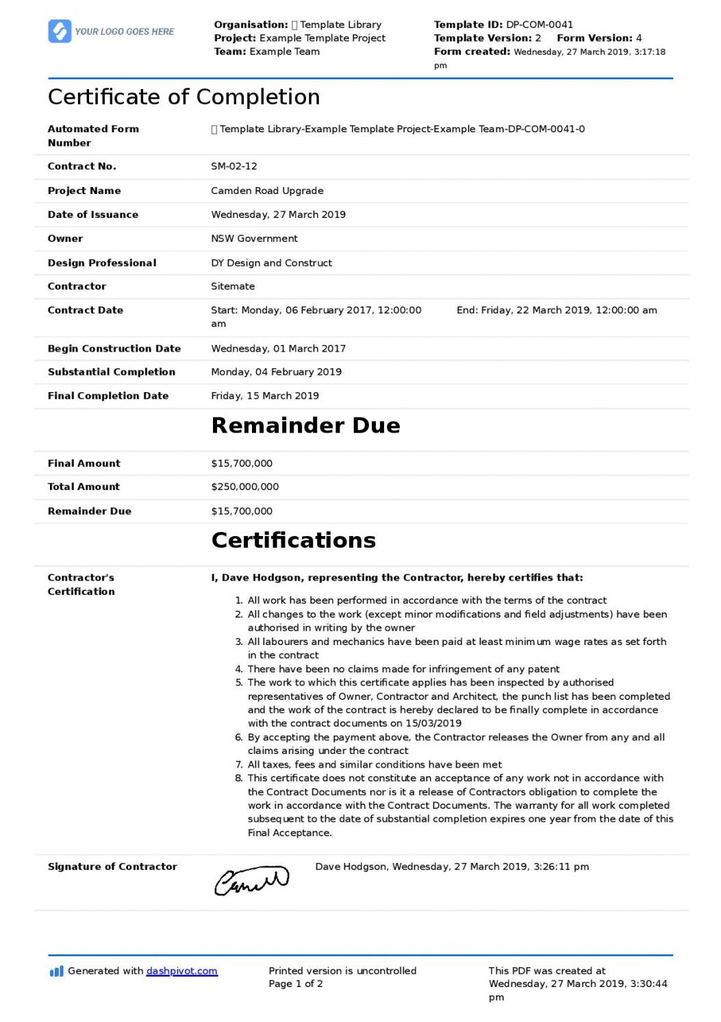 free certificate of completion for construction free template completion statement template excel