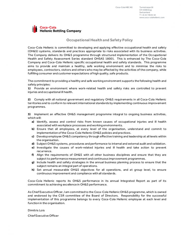 Restaurant Health And Safety Policy Template