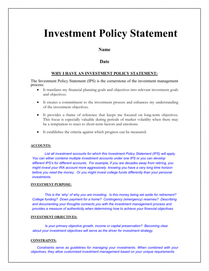 free investment policy statement ips  sample investment policy statement template example