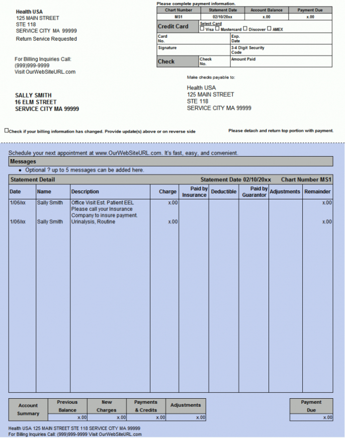 free lytec electronic statements and patient payments patient statement template example