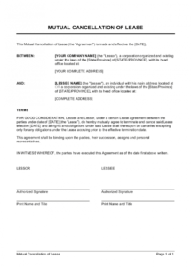 free mutual cancellation of lease template  by businessinabox™ mutual contract termination agreement template sample