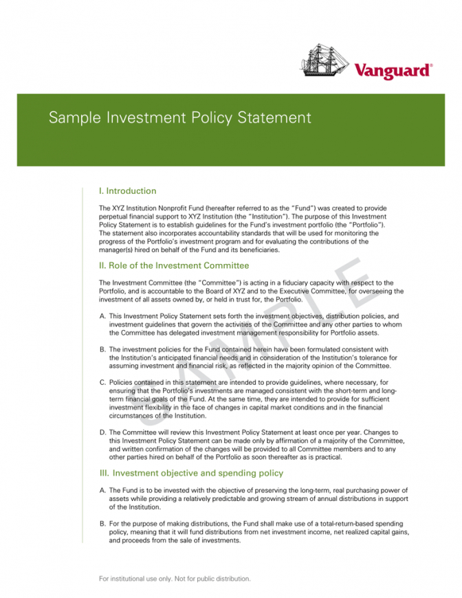 free sample investment policy statement  vanguard investment policy statement template word