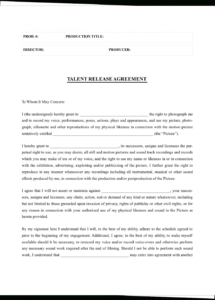 free the complete guide to actor release forms free template personal appearance contract template pdf